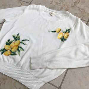 Lemon Embroidered cream sweater (size L)